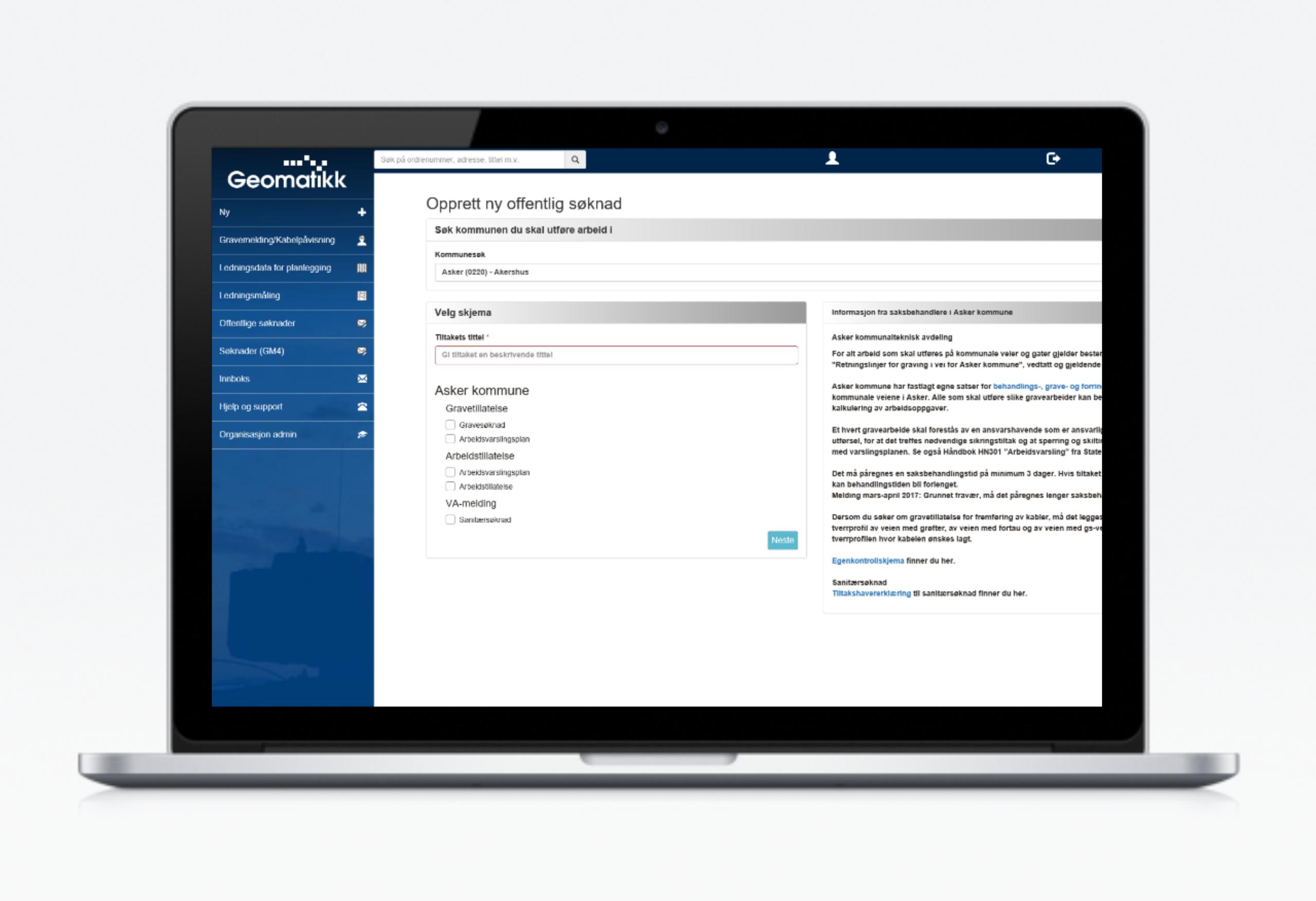 GeoSak kundeportalen i skjerm